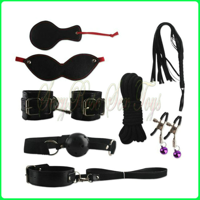 Adult Game 8-pcs Set Handcuffs Gag Nipple Clamps Whip Collar Erotic Toy Leather Fetish Sex Bondage Restraint Sex Toy for Couples