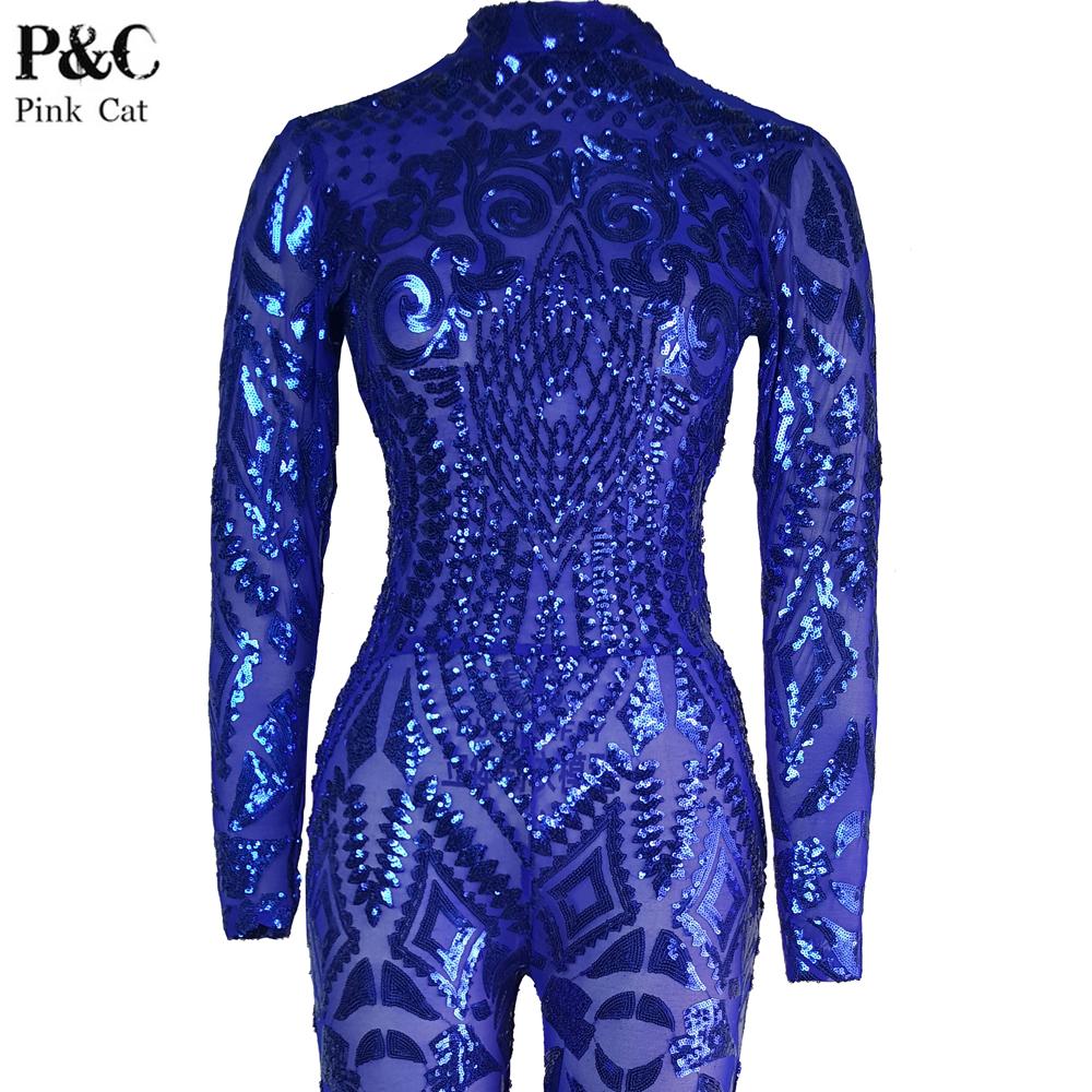 Blue Rompers Womens Jumpsuit Romper Sexy Gold Geometric Tattoo Sequin Jumpsuit Women Long Sleeve Sequined Women Bodysuit Catsuit