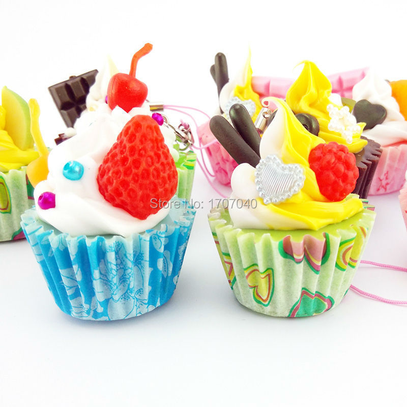 20PCS/Lot Cute Hard Ice Cream Fruit Cup Cake Cell phone Straps Food Simulation Key Chain Charms Wholesale