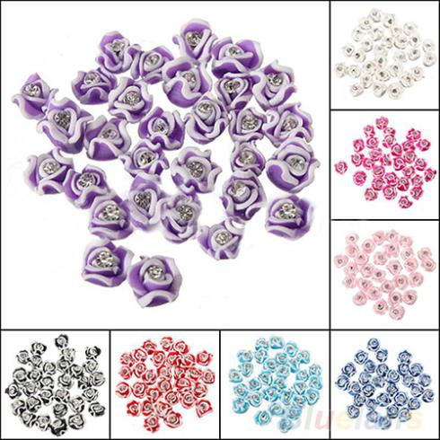 30Pcs Fashion Ceramic Rubber Rhinestone Rose Flower nail sticker Color Nail Art 3D Decoration Nail tools 1EKB(China (Mainland))