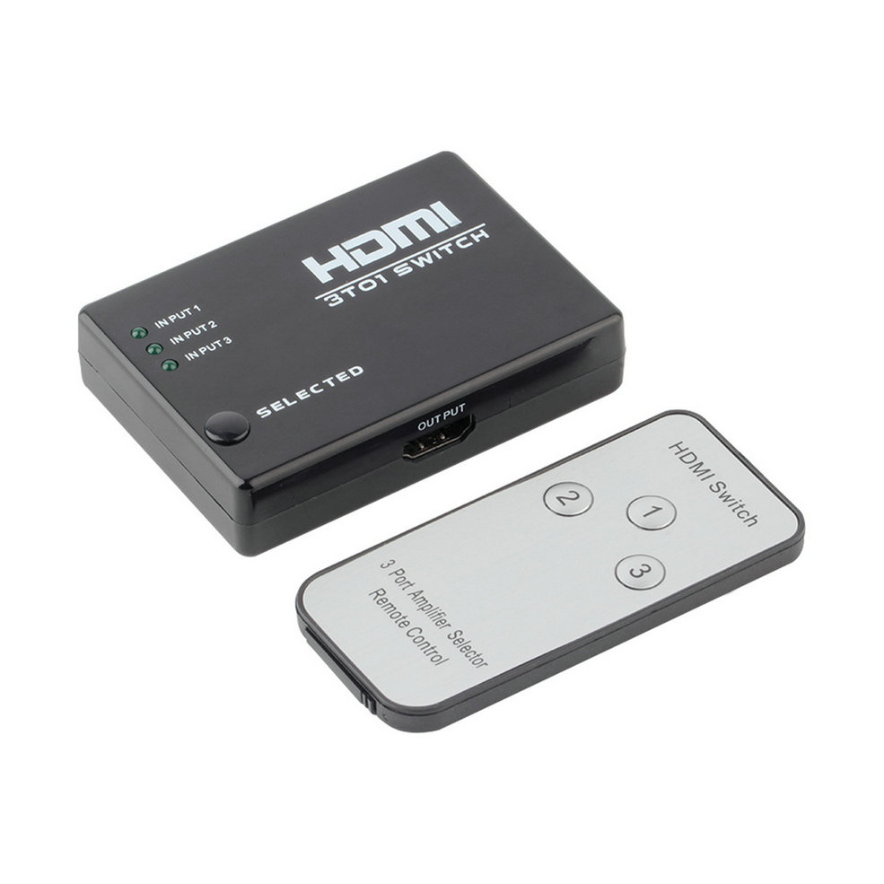 3 Port 1080P Video HDMI Switch Switcher Splitter IR Remote For HDTV PS3 DVD Drop Shipping(China (Mainland))