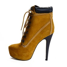2016 Popular Women Ankle Boots Flock Fashion Round Toe 15.5-16.5cm Thin Heel Boots Shoes Woman Plus Size 4-15 Can be Customized(China (Mainland))