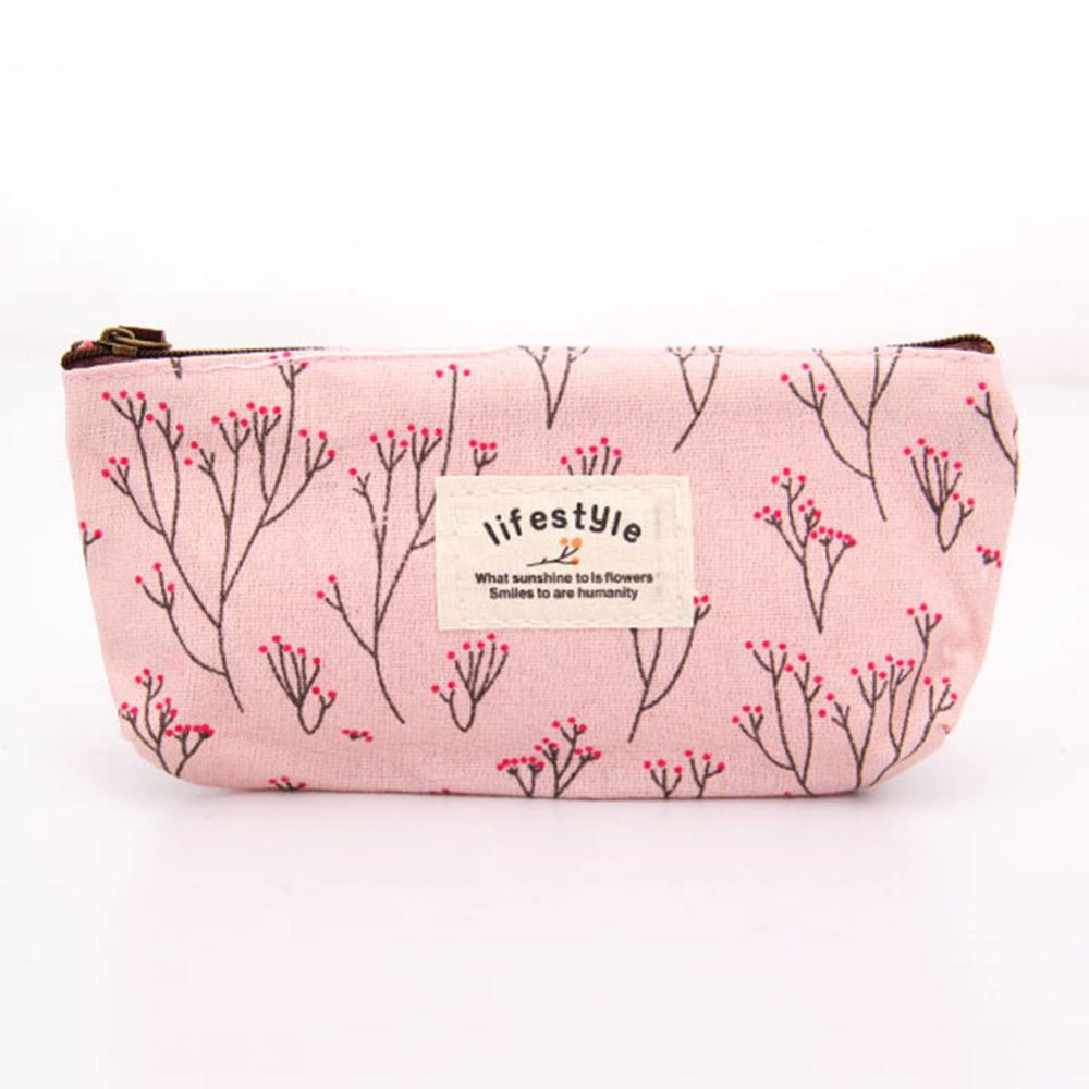Hot Sale Vintage Flower Floral Pencil Pen Cosmetic Makeup Storage Bag Pouch Case Purse Popular(China (Mainland))