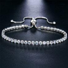 17KM חדש עגול טניס צמיד לנשים רוז זהב כסף צבע מעוקב Zirconia צמידים & צמידי Femme חתונה תכשיטים(China)