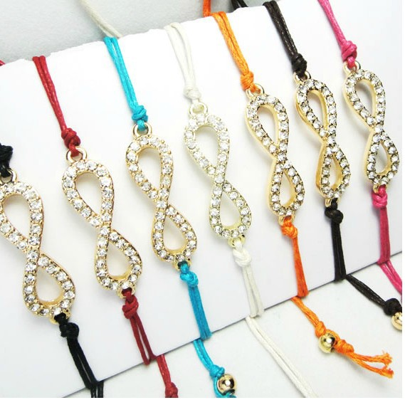 Fashion Jewelry Vintage Gold Infinity Symbol Rhinestone Waxed Thread Shambhala Charms Bracelet &Bangle Free Shipping 10pcs Z1429
