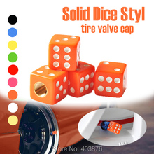 Car styling Christmas promotion Solid Orange color  Dice style Car Valve Cap , tire valve cap , EMS fast shipping(China (Mainland))