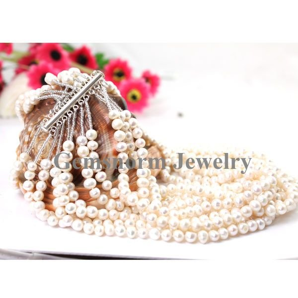 Promotion,FPN0711 10 Loops Round Pearls Necklaces,Handmade Freshwater Pearls Jewelry Fashion Charms Necklaces Free Shipping<br><br>Aliexpress