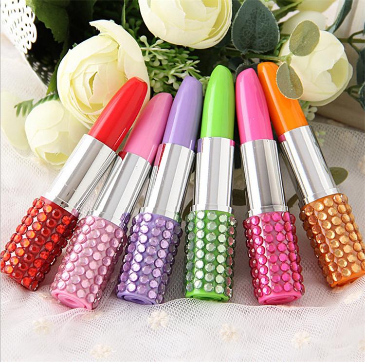 200 pcs Rhinestone Sexy Lipstick Shape Office Stationery Ballpoint Ball Pen(China (Mainland))