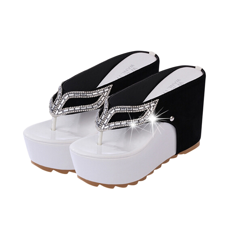 Thick Bottom Platform Flip Flops Rhinestone Wedge Heel Shoes Patchwork Woman Summer Sandals XWZ1953(China (Mainland))
