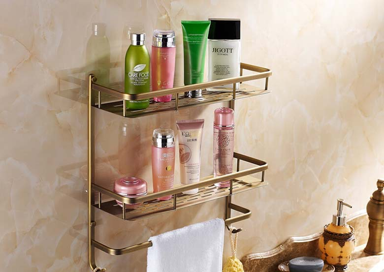 Фотография Bathroom antique brass shelf  rectangle double layer multifunction storage shelves with towel bar and hook