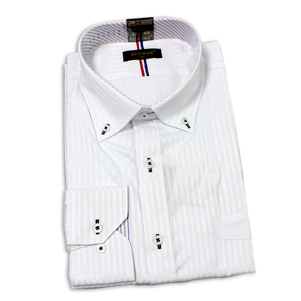 Men white stripe fashion purple stripe button down collar for Purple striped dress shirt