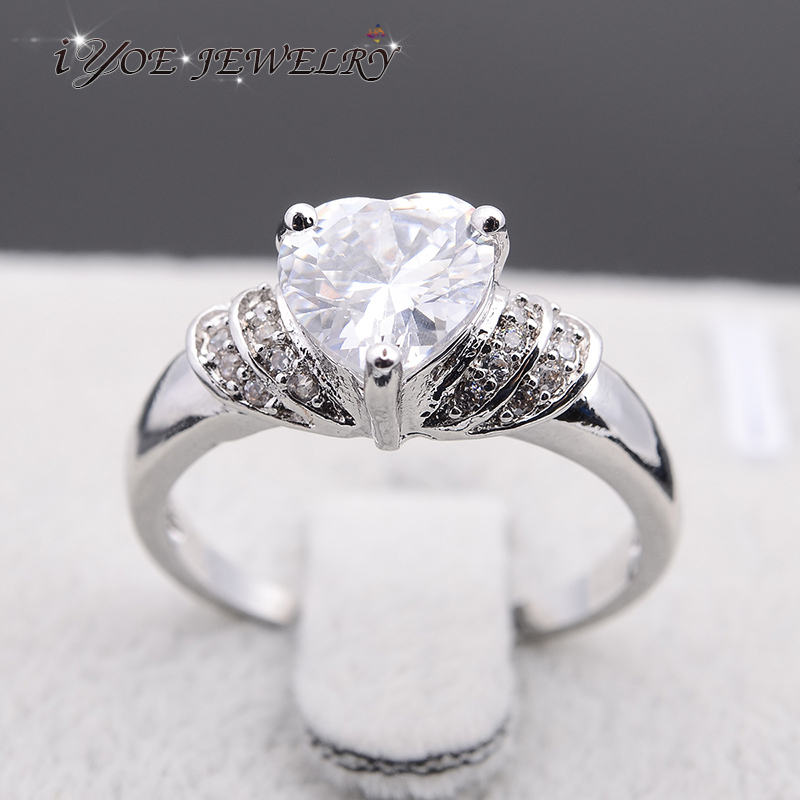 IYOE Wedding Jewelry Summer Style Austrian Crystal Heart Rings For Women Trendy Couple Engagement Ring 2015 Fine Jewelry(China (Mainland))