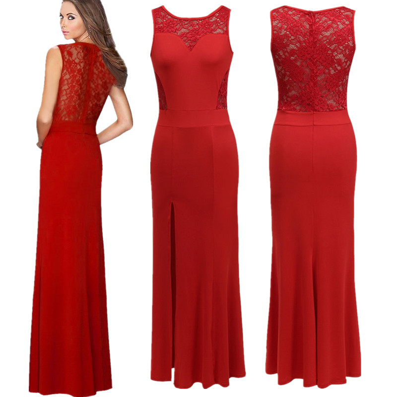 Women dresses side slit Maxi dress lace Mermaid Tail sexy bodycon semi sheer back hollow out Maxi dresses(China (Mainland))