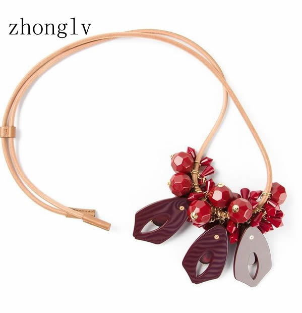 2015 Gift sale red flower Leather cord necklaces beads vintage big crystal statement Necklaces gold plated summer hot jewellery(China (Mainland))