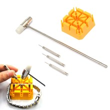high Quality Watch Repair WatchBand Link Remover Tool Kit - Hammer Punch Pins Watch Strap Holder Hot Sale Watchmaker(China (Mainland))