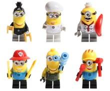 6pcs/set Minion Despicable Me 3 plastic blocks minifigures bricks compatible toy building action figure kids gift