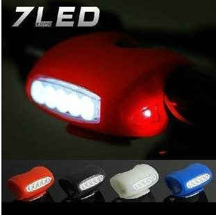 Free shipping 7led bicycle lamp headlight silica gel lamp ride rear light safety lamp light(China (Mainland))