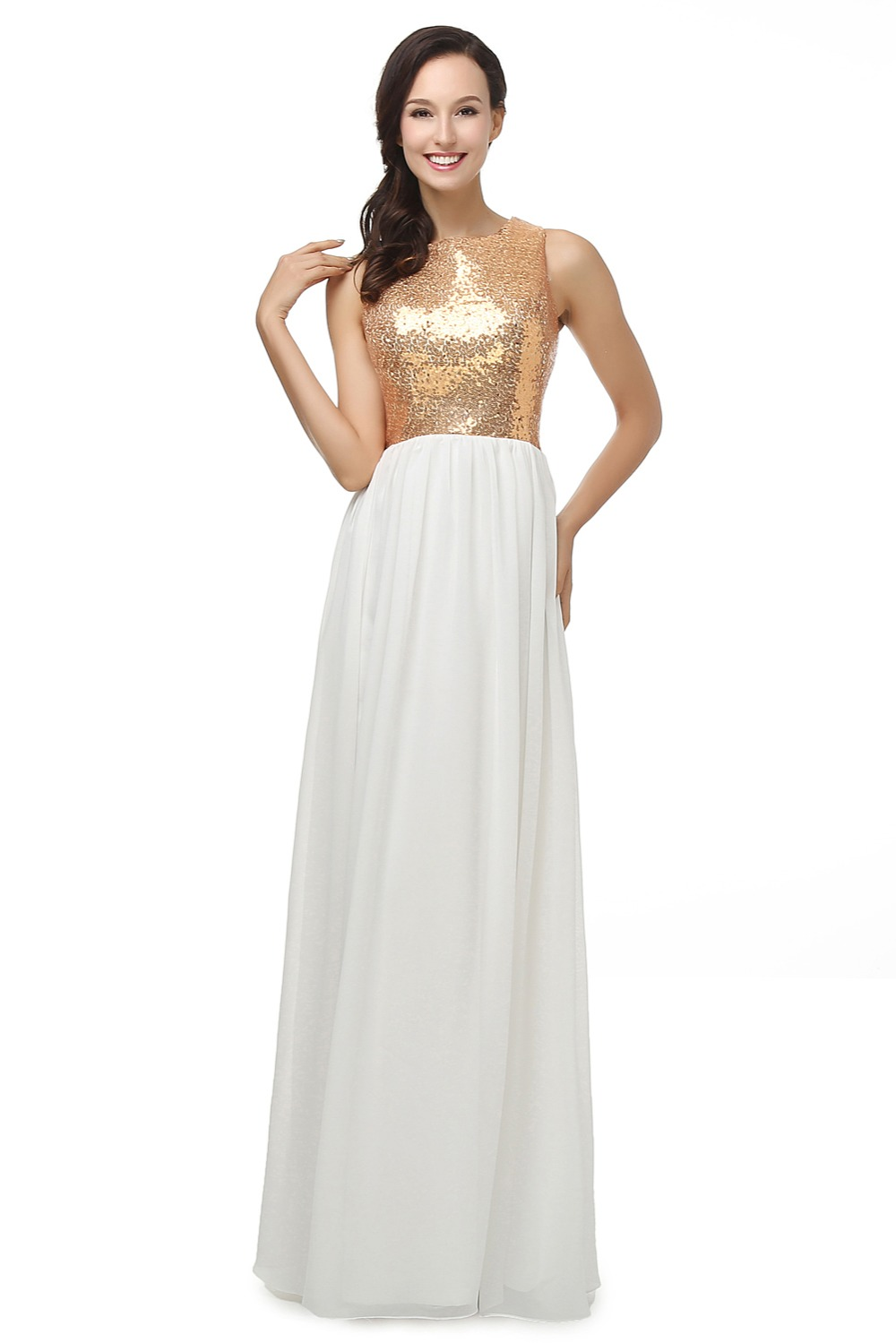 Gold sequined and white chiffon tank long evening dress for Dresses for afternoon wedding