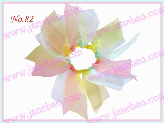 free shipping 25pcs Girls Organza Pony O Bow Ponytail Streamer popular girl hair accessories(China (Mainland))