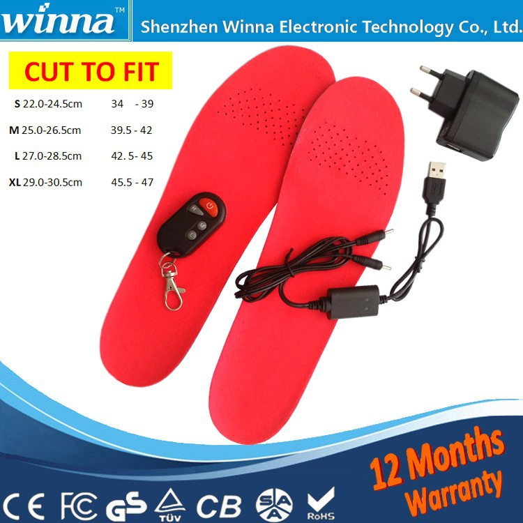 Winter Electric Heating Insoles 2300mAh With Remote Control Shoes Boots Pad Material PU Solid 41-46 Large Size(China (Mainland))