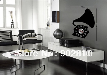 [listed in stock]-53x40cm phonograph classical phone home decorative wall clocks sticker (movement included)