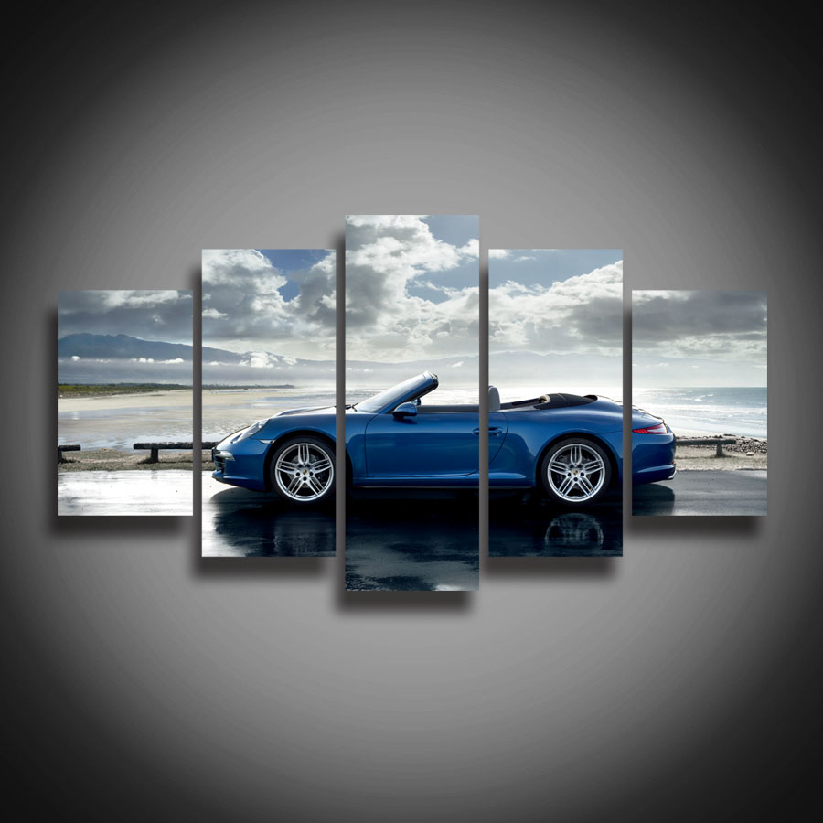 high quality framed printed blue sports car posters modern