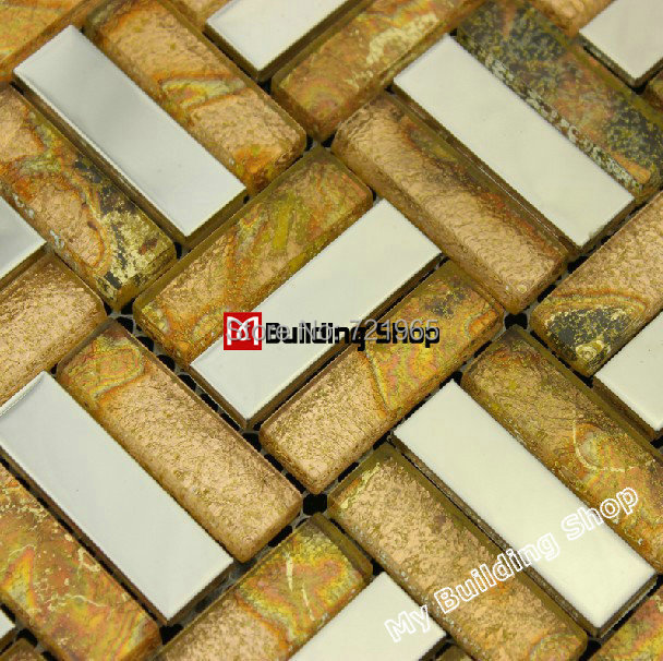Stainless steel glass mosaic tile SSMT186 metallic glass mosaic stainless steel tiles backsplash gold glass mosaic bathroom tile<br>