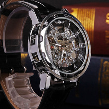 New Fashion Classic Men's Black Leather Dial Skeleton Mechanical Sport Army Wrist Watch Men Skeleton Watches Top Brand Luxury(China (Mainland))