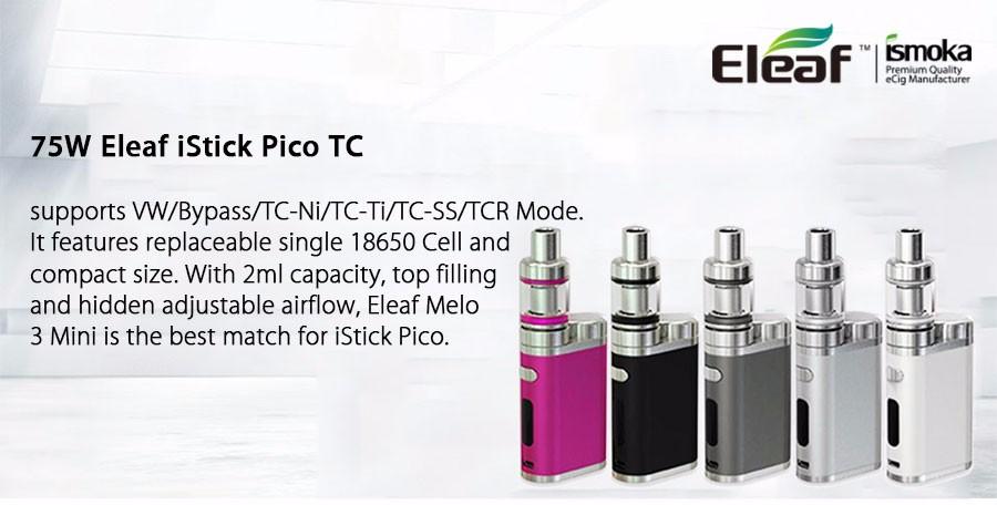 ถูก บุหรี่อิเล็กทรอนิกส์eleaf istick pico startkitกับ75วัตต์istick pico tcกล่องสมัยและMELO III 3ถังมินิ2มิลลิลิตรVapeไม่มี18650แบตเตอรี่