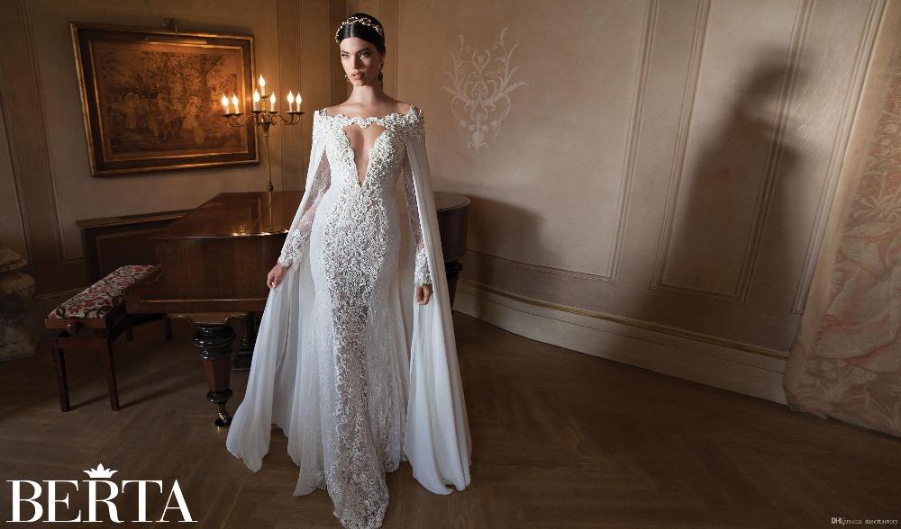 2015 long sleeve berta wedding dress lace appliques dress
