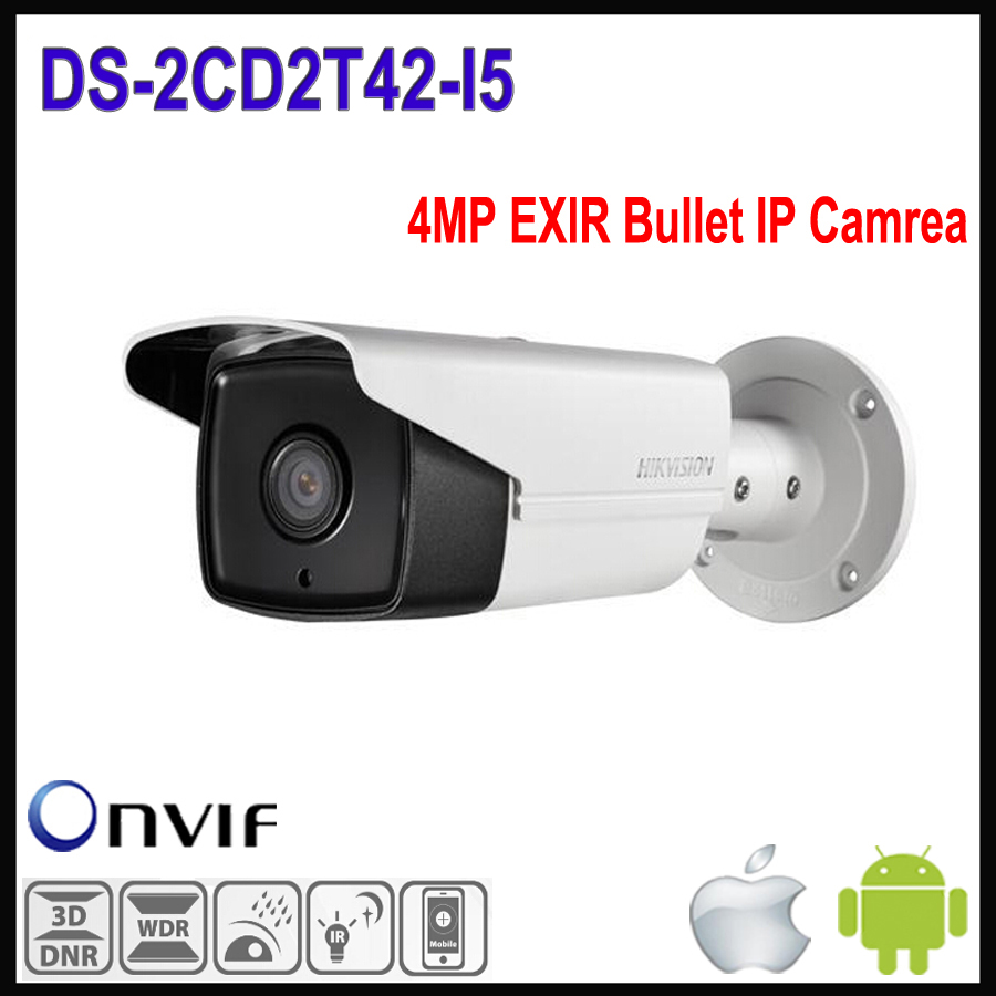 In stock Hikvision IP Camera Outdoor DS-2CD2T42WD-I5 4MP IR Bullet Network IP Camera Support H.264 WDR Function CCTV Cameras POE(China (Mainland))
