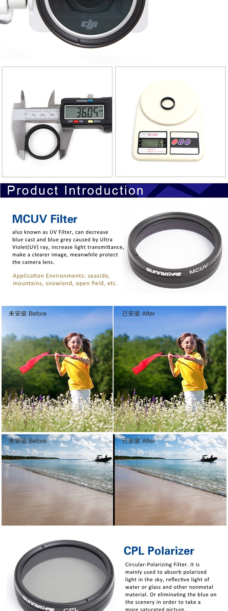 Sunnylife DJI Phantom 3/4 Accessory ND4 Dimmer ND-4 Light Microscopy Lens Filter for Phantom 4/3 ProfessionaAdvancedStandard