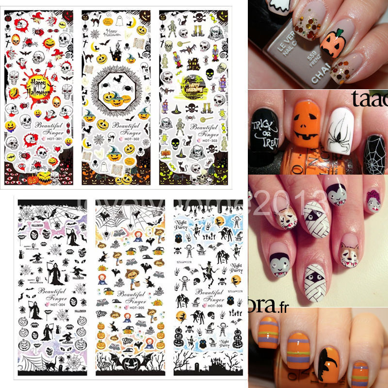 6 Sheets 2015 Latest Halloween Water Transfer Decal Stickers Nail Art Tips AllHallow'sDay Decoration Ghost Bat Skull Witch Death(China (Mainland))
