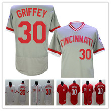 2016 New Arrival Flexbase #30 Ken Griffey throwback Stitched baseball jersey,Color Gray white red(China (Mainland))