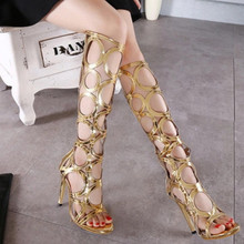 2016 New Brand Fretwork Gladiator Sandals Women Sexy High Heels Fashion Knee Summer Boots Shoes Woman Sandals