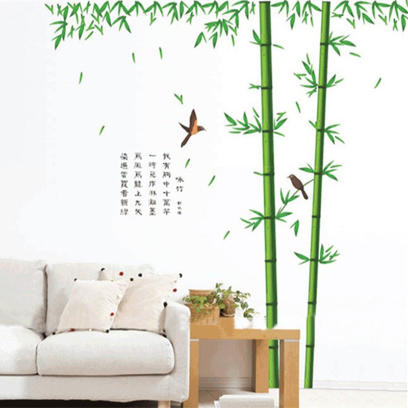 Living room wall decoration stickers bamboo grove deeps the birds flying 3d removable vinyl decals wallpaper free shipping(China (Mainland))