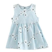 Детские платья без рукавов с цветочным принтом для девочек; хлопковое и льняное платье с цветочным рисунком для маленьких девочек; весенне-...(China)