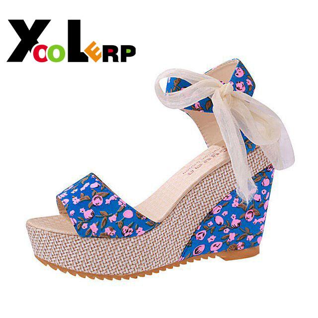 2016 New Fashion Summer Wedges Sandals Female Shoes Women Platform Shoes Lace Belt Bow Flip Flops Open Toe High-heeled Shoes(China (Mainland))