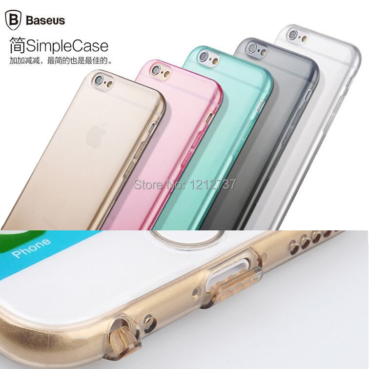"0.7mm Ultra thin Original BASEUS Simple Series Soft TPU Gel Back Phone Case Cover For Apple iPhone 6 4.7"" With Dust plug(China (Mainland))"
