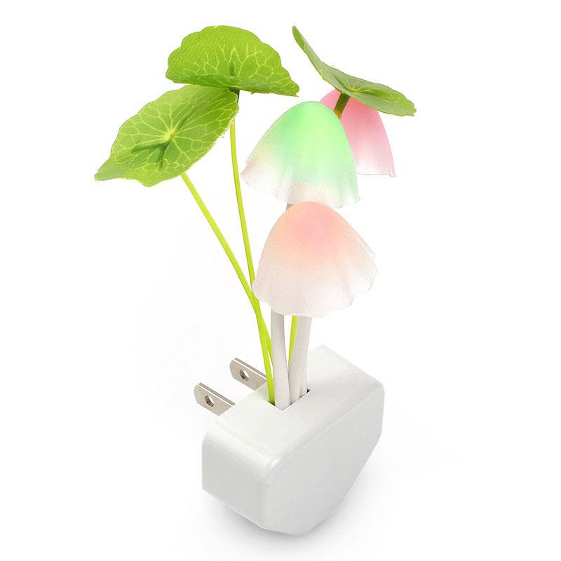 Bedroom Night Light EU US Plug Colorful LED Mushroom Night Light Bed Lamp Home Illumination Light sensor automatic startup(China (Mainland))