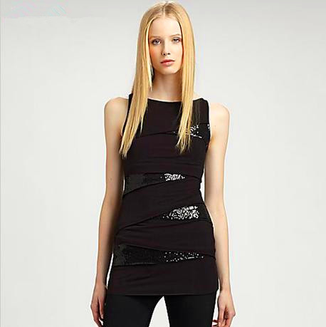 Sexy Tight Top/ Irregular Patchwork Sleeveless T-shirt/ Ladies' Night Club Wear/ Club Wear Tops/ Chic Design Tee