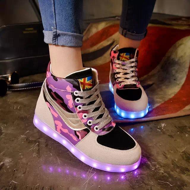 Hot new high-top chaussure enfant LED lights Colorful LED unisex luminous USB girls shoes, boys shoes, kids light up shoes(China (Mainland))