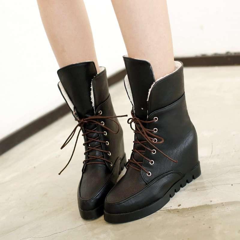 ซื้อ พลัสSize34-43 2016แฟชั่นใหม่ผู้หญิงบู๊ทส์มาร์ตินเวดจ์ปั๊มรองเท้าส้นสูงสตรีข้อเท้าบู๊ทส์รองเท้าหิมะหญิงSBT2118