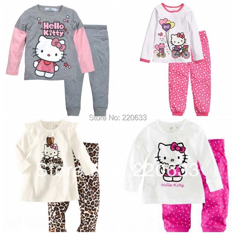 2016 autumn clothing set,winter suit,children baby girl pyjamas,hello kitty,thick thermal underwear,kids pajamas set - ROOM 3 store