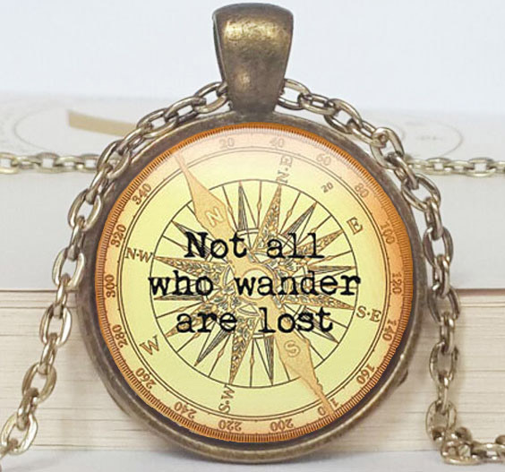 Not all who wander are lost - Handcrafted Keepsake Pendant - Compass Jewelry(China (Mainland))