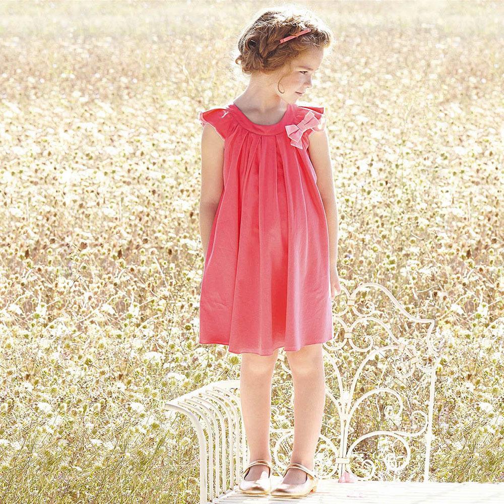 2015 Big Baby Girls Cotton Bow Dresses Kids Girl Summer Ruffle TuTu Ruffle Sleeve Dress Children' s Clothing Babies Clothes(China (Mainland))