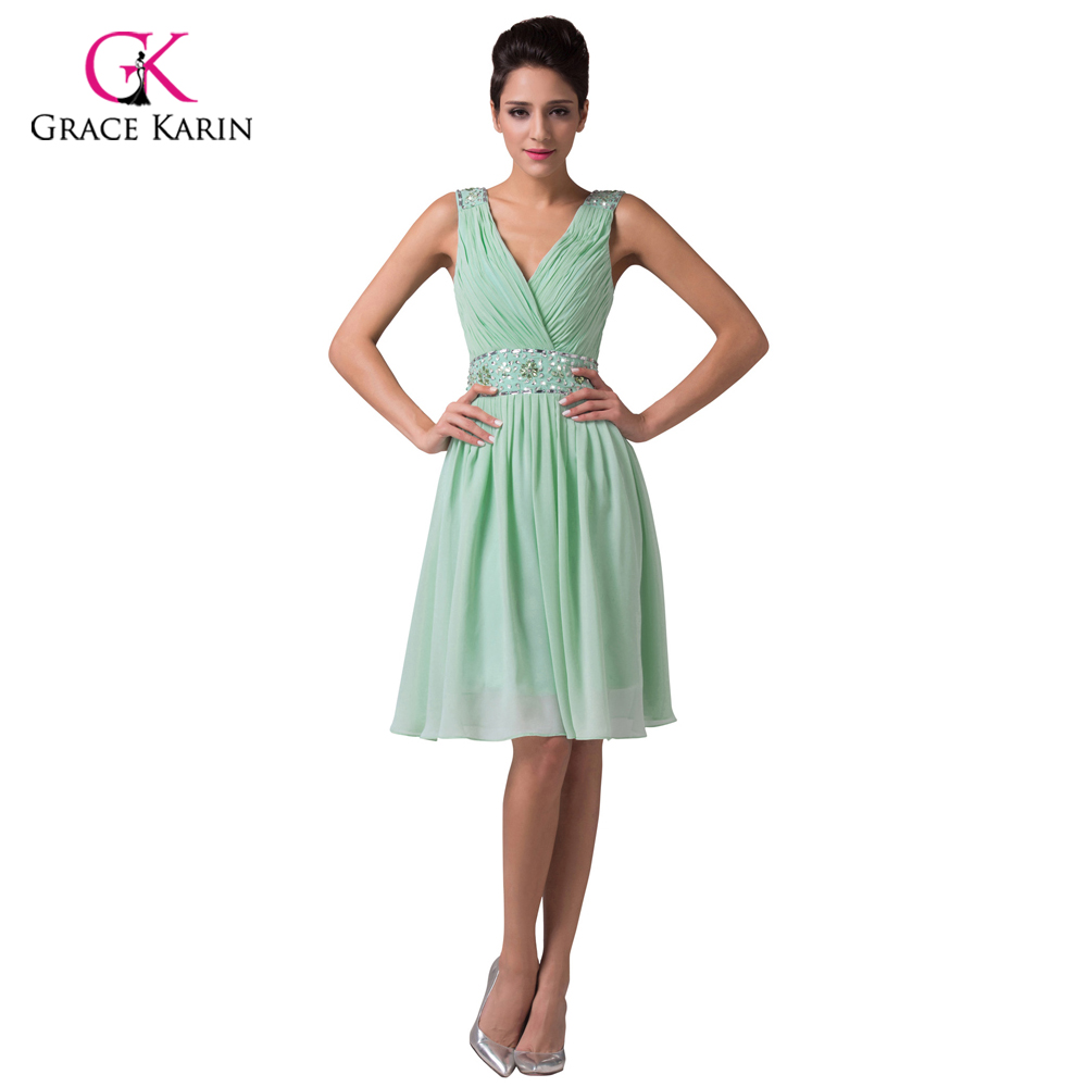 Cheap mint green short bridesmaid dresses under 50 grace for Below the knee dresses for wedding