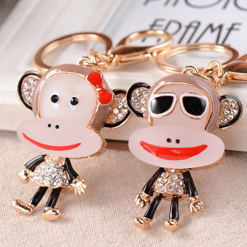 Resin fashion drip mouth monkey new car keychain ring chain girls day practical small gifts customized merchandise(China (Mainland))