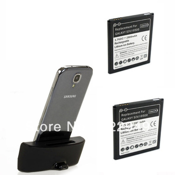 2x 2800mAh Li-ion Rechargeable Battery + USB Dual Desktop Dock Cradle Station Charger For Samsung Galaxy S4 S 4 IV i9500 I9505