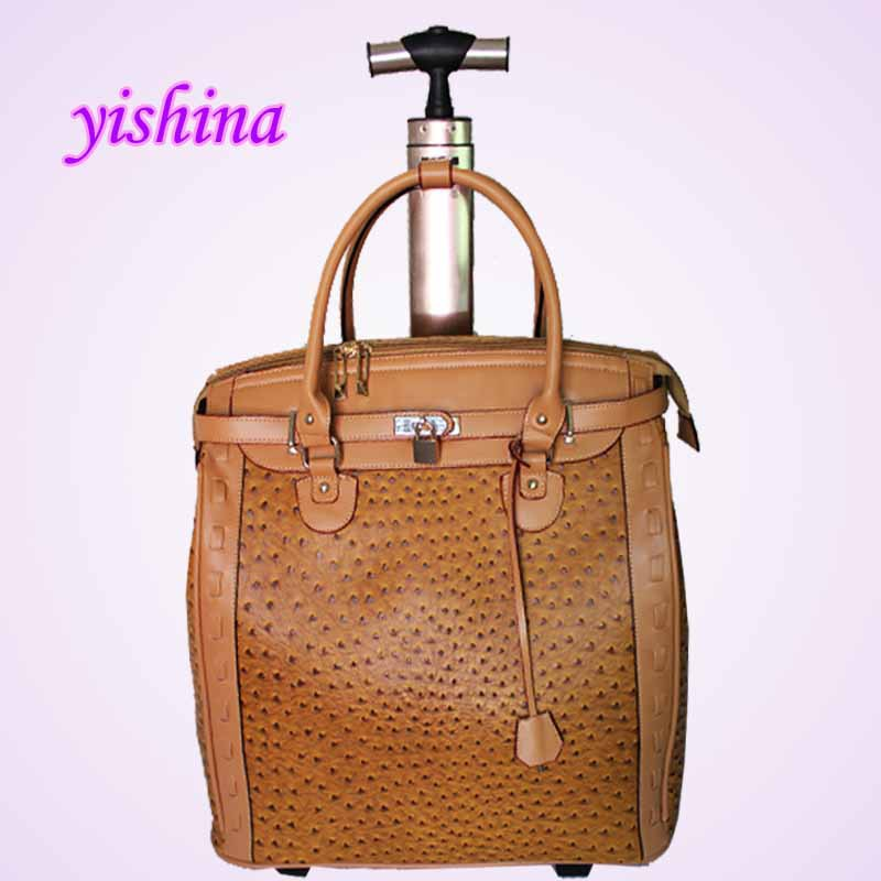 Women PU Leather Ostrich Print Travel Trolley Bag New Laptop Computer Bags Wheels - Fashion Store store